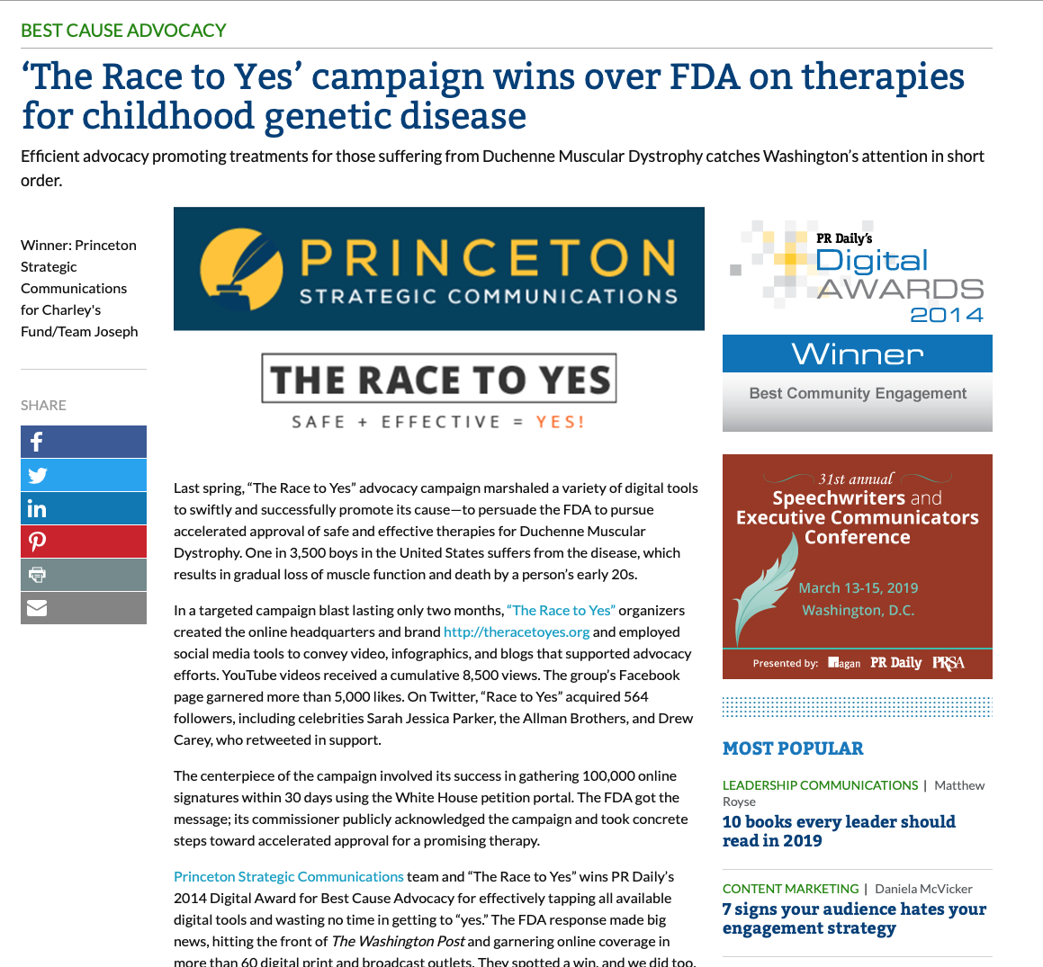 a340e14af5a1 ... in Ragan's PR Daily's 2014 Digital Awards, the real gratification comes  as those facing Duchenne gain access to safe and effective therapies.